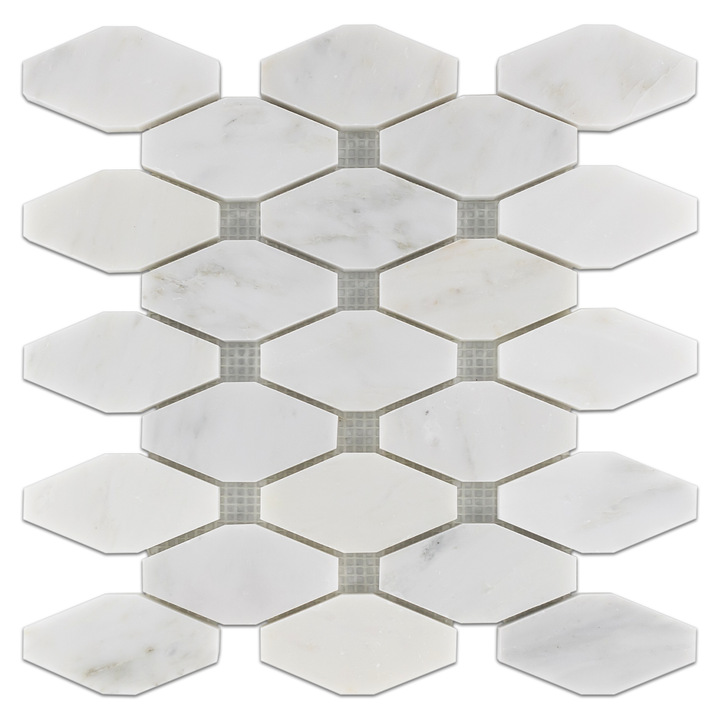 Pearl White Rhomboid Without Dot Mosaic Polished (0.79 sf)