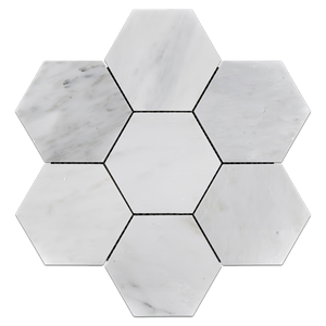"Pearl White 5"" Hexagon Mosaic Polished (0.99 sf) - Elon Tile & Stone"