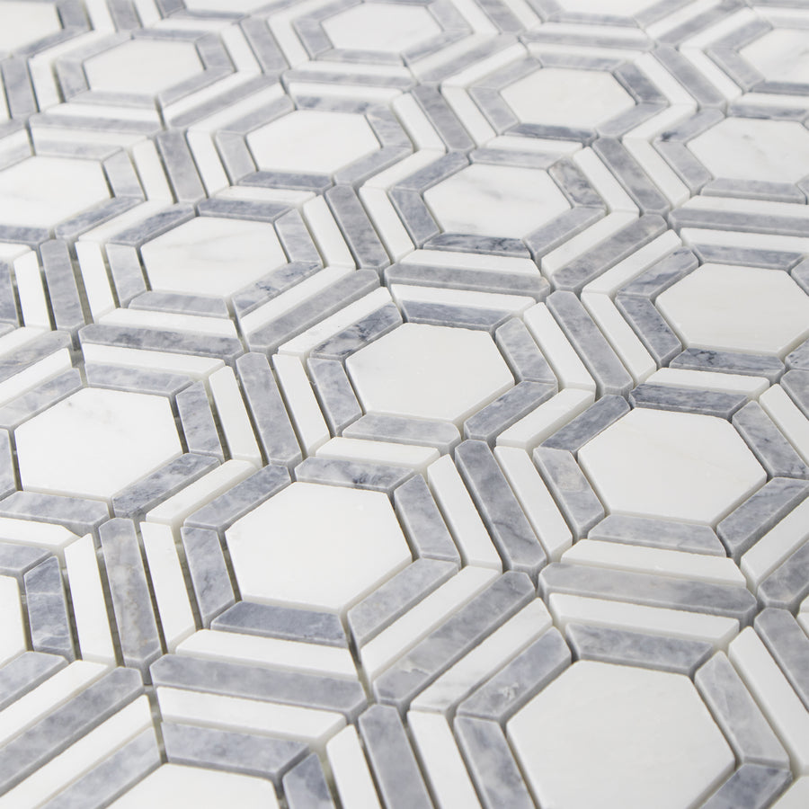 Kaleidoscope Pearl White with Pacific Gray Honed - Elon Tile