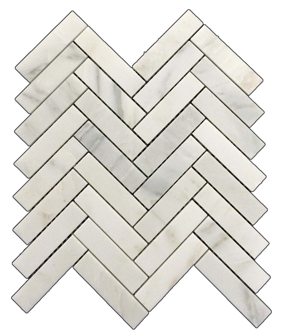 "Pearl White 1"" x 4"" Herringbone Mosaic Honed - Elon Tile"