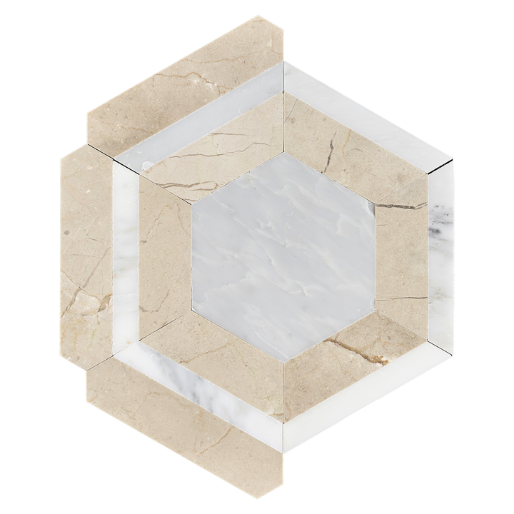 Pearl White Honeycomb with Crema Marfil Mosaic Honed - Elon Tile