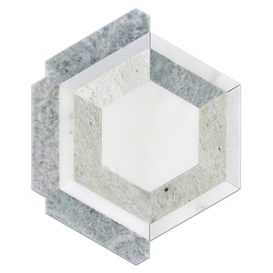 White Absolute Honeycomb with Ming Green Mosaic Honed - Elon Tile