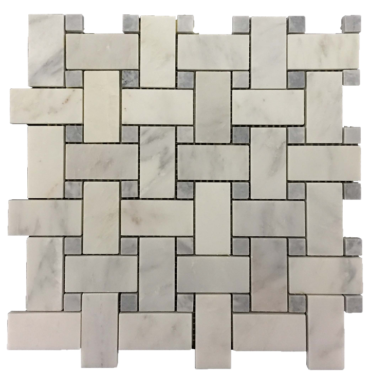 "Pearl White Basketweave with 5/8"" Pacific Gray Dot Mosaic Honed (1 sf) - Elon Tile"