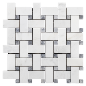 "Pearl White Basketweave with 5/8"" Pacific Gray Dot Mosaic Polished - Elon Tile"