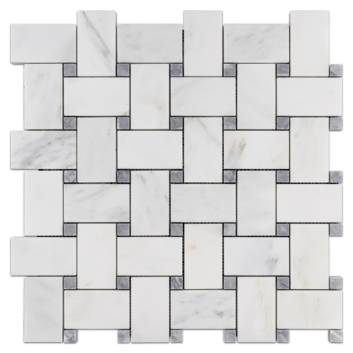 "Pearl White Extra Large Basketweave with 5/8"" Pacific Gray Dot Mosaic Honed - Elon Tile"