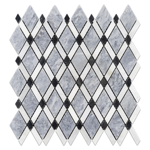 Pacific Gray Lattice with Absolute White Mosaic Polished (1.01 sf) - Elon Tile