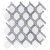 Pearl White with Pacific Gray Bar Argyle Mosaic Polished (0.92 sf)