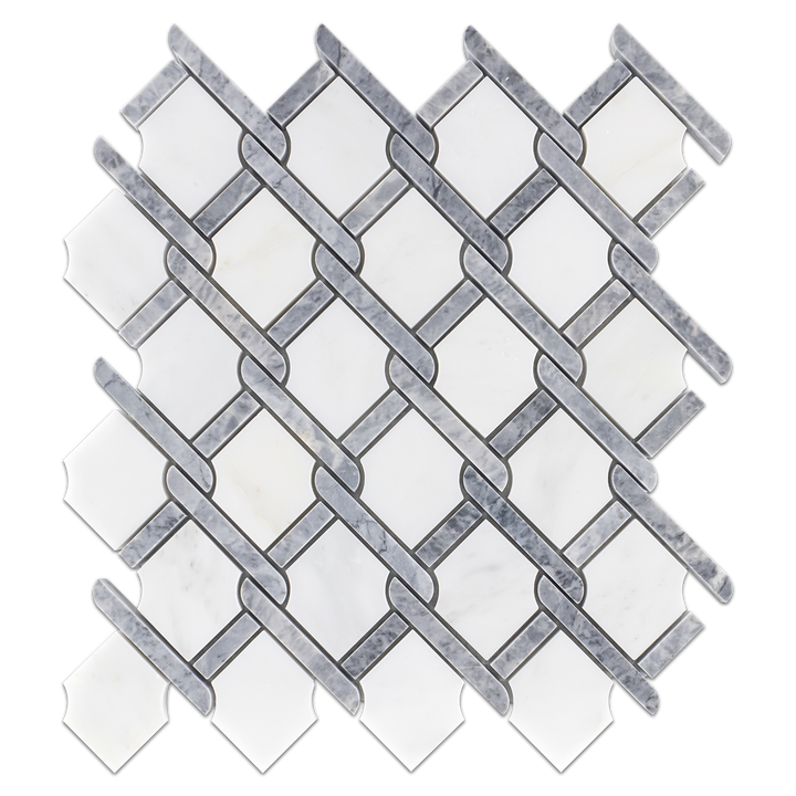 Pearl White with Pacific Gray Bar Argyle Mosaic Polished (0.92 sf) - Elon Tile