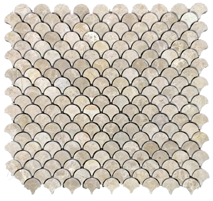 **LIMITED STOCK** Latte Fan Mosaic Honed (0.97 sf) - Elon Tile