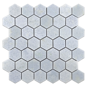 "Blue Celeste 2"" Hexagon Mosaic Polished"