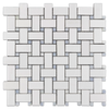 White Thassos Basketweave with Blue Celeste Dot Polished (1 sf)