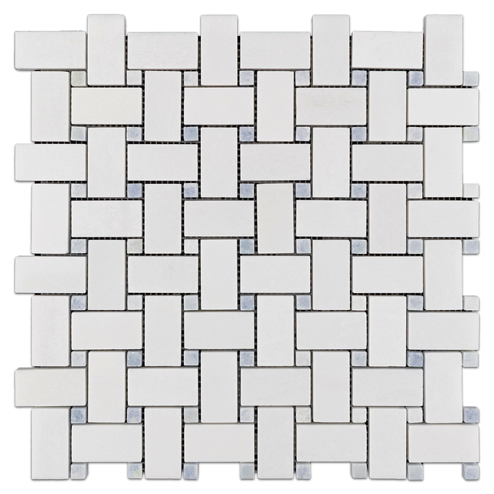 White Thassos Basketweave with Blue Celeste Dot Polished - Elon Tile