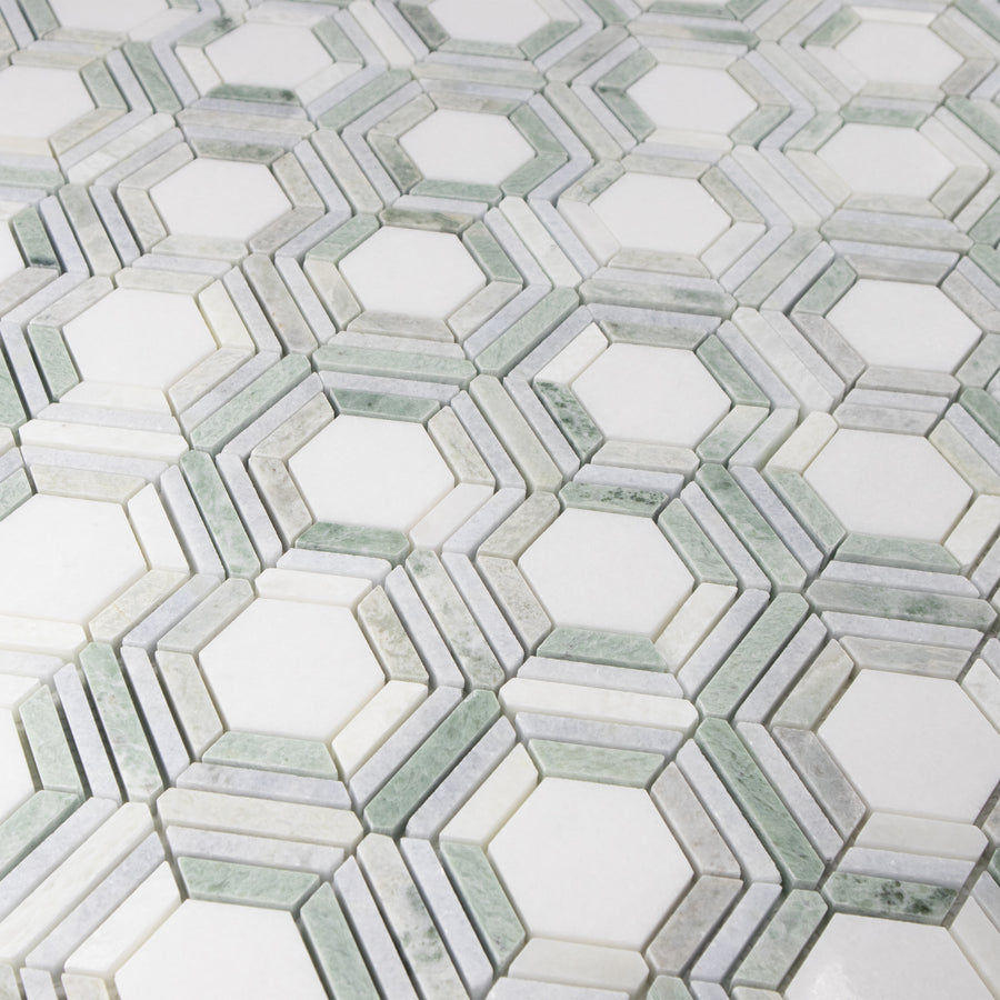 Kaleidoscope White Thassos with Blue Celeste and Ming Green Polished - Elon Tile