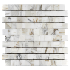 "Calacatta Gold 1 1/4"" Random Broken Joint Mosaic Polished - Elon Tile"