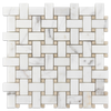 Calacatta Basketweave with Crema Marfil Dot Honed (1 sf) - Elon Tile