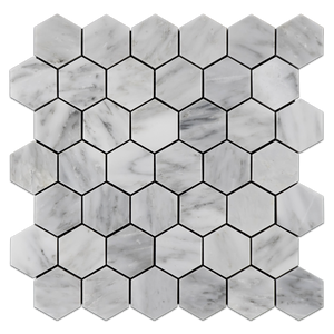 "Mystic Gray 2"" Hexagon Mosaic Polished - Elon Tile"