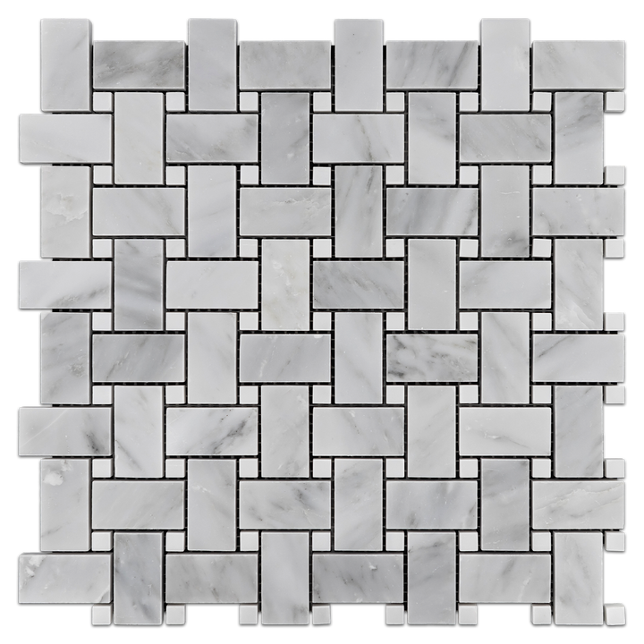 "Mystic Gray Basketweave with 3/8"" White dot Honed (1 sf) - Elon Tile"