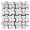 "BASKETWEAVE DOLOMITE PREMIUM WITH 3/8"" MYSTIC GRAY DOT HONED - Elon Tile"