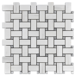 "Dolomite Basketweave with 3/8"" Mystic Gray Dot Mosaic Honed - Elon Tile"