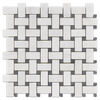 "BASKETWEAVE DOLOMITE PREMIUM WITH 3/8"" BARDIGLIO DOT HONED - Elon Tile"