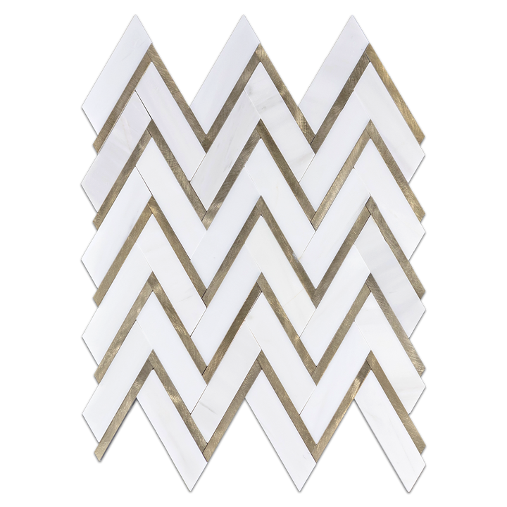 "Dolomite 1"" x 4"" Herringbone with Gold Aluminum Mosaic Honed"