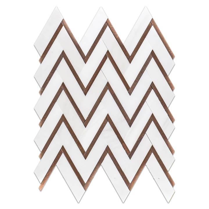 Dolomite Herringbone with Copper Rose Aluminum Mosaic Honed