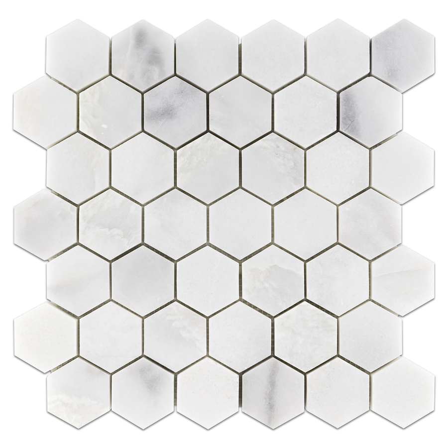 "Ice White 2"" Hexagon Mosaic Polished (0.97 sf) - Elon Tile"