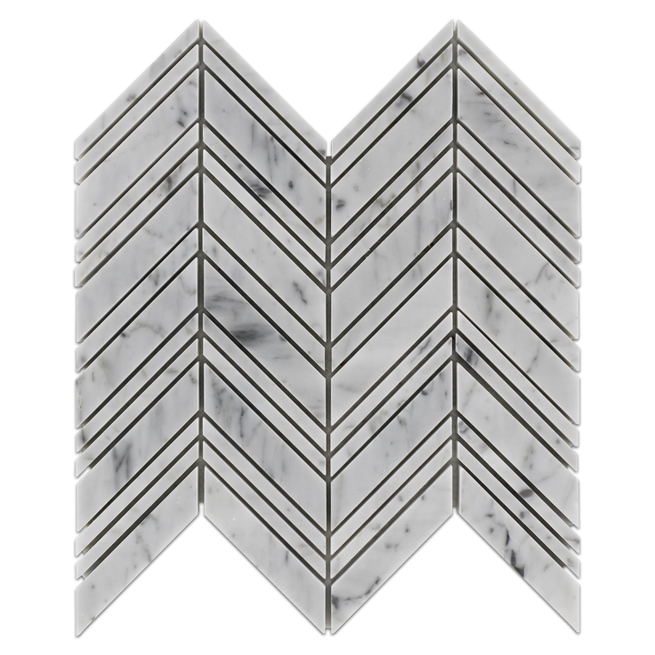 Bianco Carrara Chevron Mosaic Polished (0.87 sf) - Elon Tile