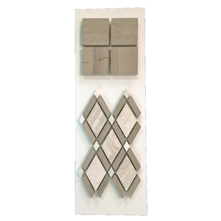 "C11 - 2"" Square Driftwood and Petite Lattice Beachwood with Driftwood Bars and White Dots Honed - Elon Tile"