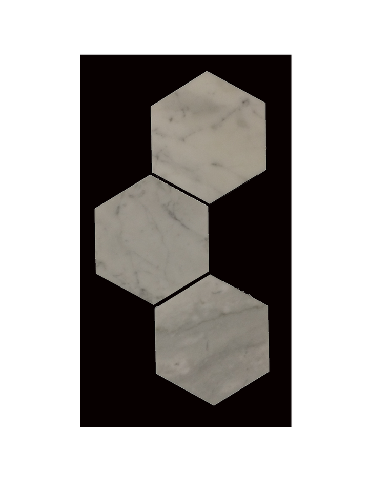 "C130 - 5"" Hexagon Bianco Carrara Polished - Elon Tile"