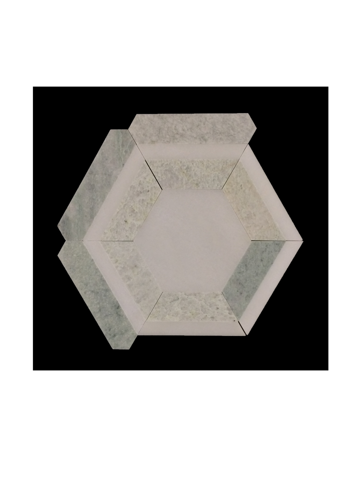 C143 - Honeycomb White Absolute with Ming Green Honed - Elon Tile