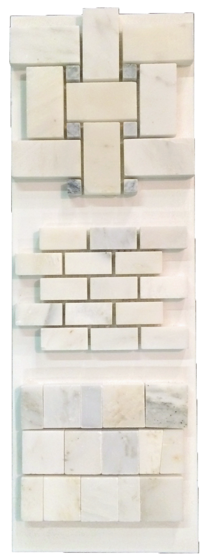 "C18 - Basketweave Pearl White with 3/8"" Pacific Gray dot; Mini Brick and Random Broken Joint Honed - Elon Tile"