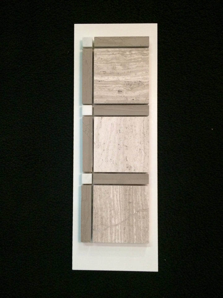 C4 - Grande Square Beachwood with Driftwood Bar and White Dots Honed - Elon Tile