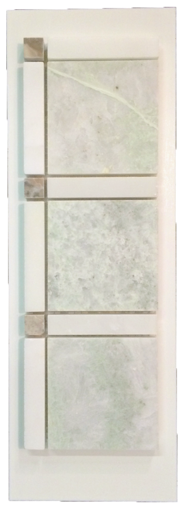 C7 - Grande Square Ming Green with White Bars and Temple Grey Dots Polished - Elon Tile