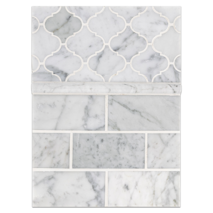 "Concept Board Collection - CB055 - Bianco Carrara 3"" x 6"" Polished with Bianco Carrara Lantern Mosaic Polished Board"