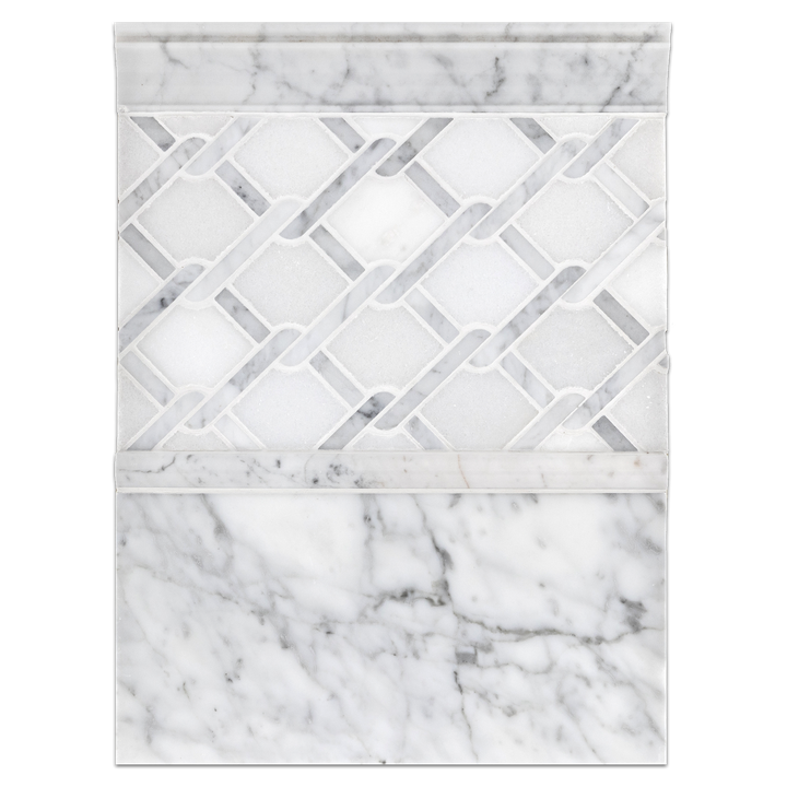 "Concept Board Collection - CB056 - White Absolute with Carrara Argyle Mosaic Polished with 6"" x 12"" Carrara Polished and Carrara Moldings Polished Board"