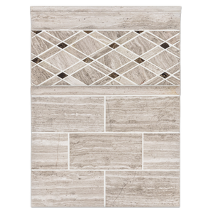 "Concept Board Collection - CB1002 - Beachwood 3"" x 6"" Honed with Beachwood Petite Lattice with Dark Emperador Dot Mosaic Honed and Beachwood Moldings Honed"