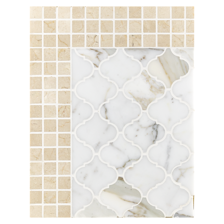 "Concept Board Collection - CB1003 - Calacatta 3"" Lantern Mosaic Polished and Crema Marfil 5/8"" x 5/8"" Mosaic Polished"