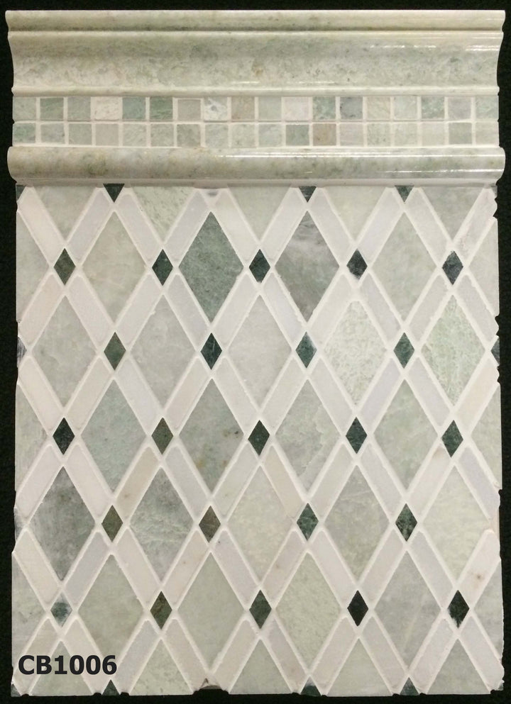 "Concept Board Collection - CB1006 - Ming Green Lattice with Ming Green 5/8"" and Ming Green Moldings Polished Board - Elon Tile"