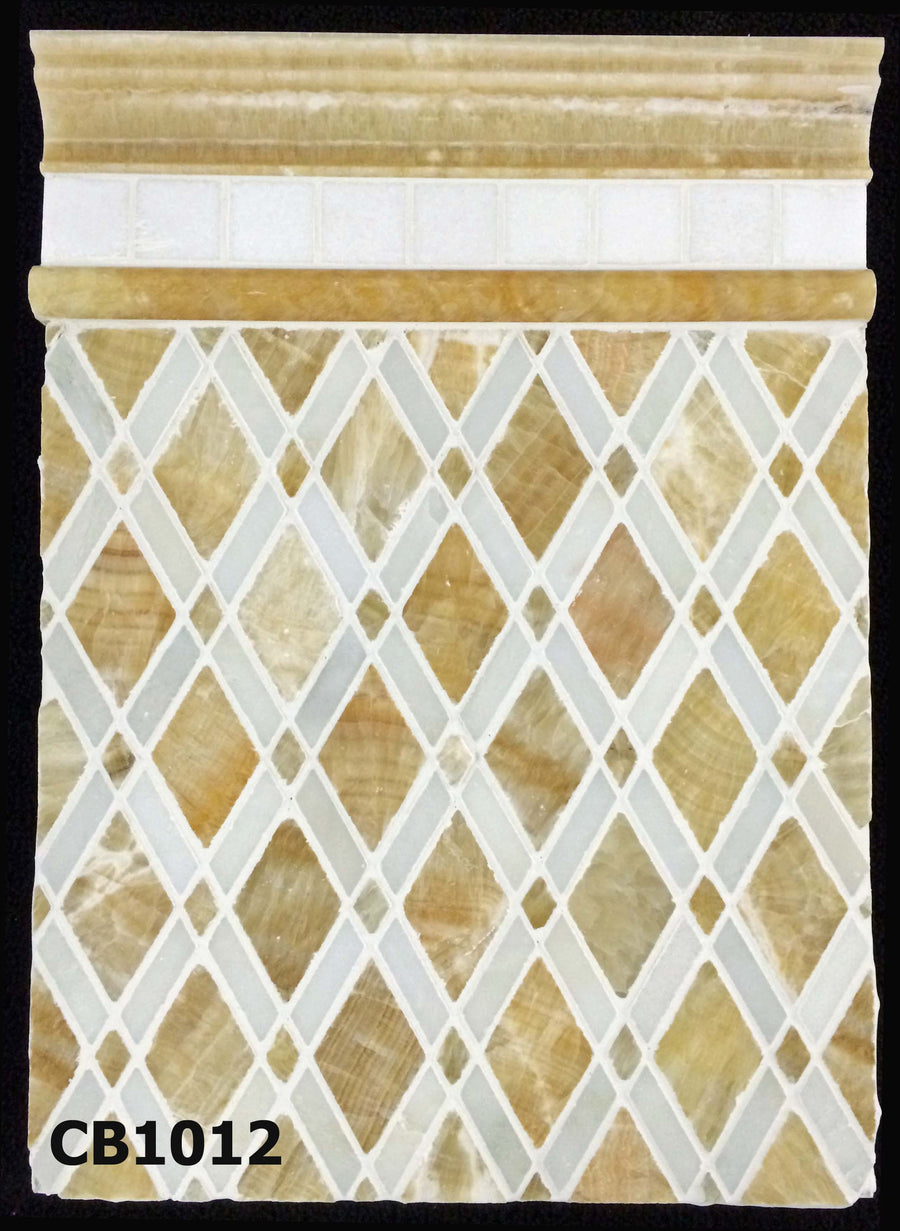 "Concept Board Collection - CB1012 - Honey Onyx with White Absolute Lattice Mosaic Polished with White Thassos 2"" x 2"" Mosaic Polished and Honey Onyx Moldings Polished Board - Elon Tile"