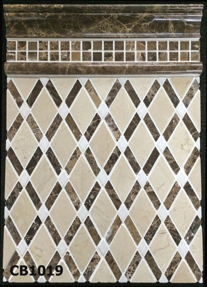 "Concept Board Collection - CB1019 - Crema Marfil Lattice with Dark Emperador Bar and White Absolute Dot Mosaic Polished with Dark Emperador 5/8"" x 5/8"" Mosaic Polished and Dark Emperador Polished Moldings Board - Elon Tile"