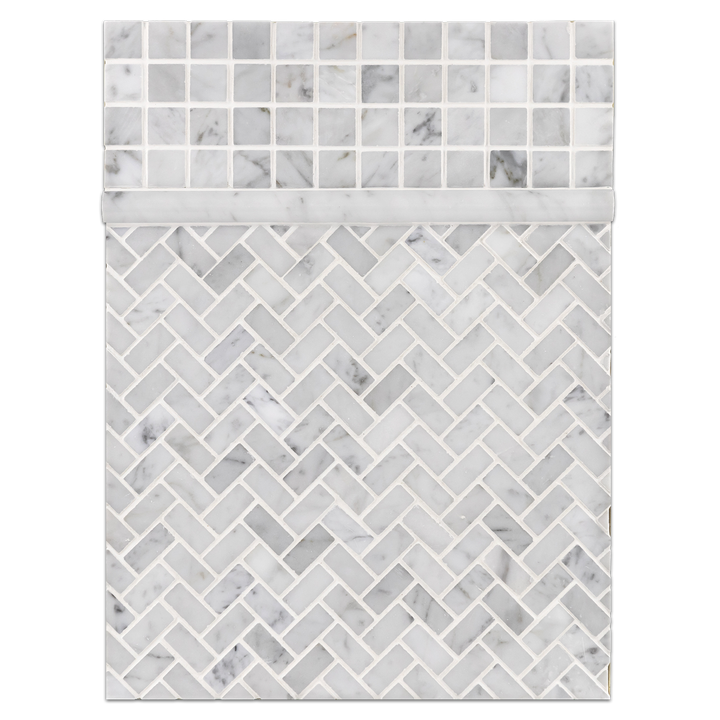 "Concept Board Collection - CB1021 - Bianco Carrara 1"" x 1"" Mosaic Polished with Bianco Carrara 5/8"" x 1 1/4"" Herringbone Mosaic Polished and Bianco Carrara Pencil Molding Polished Board"