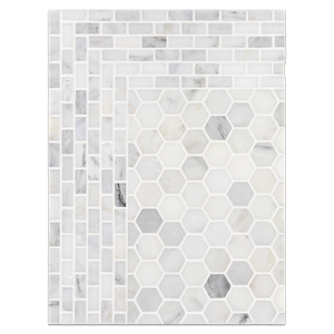 "Concept Board Collection - CB1023 - Pearl White 1 1/4"" Hexagon Mosaic Polished with Pearl White Mini Brick Mosaic Polished Board"