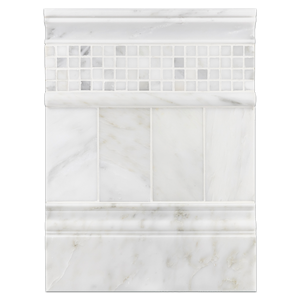 "Concept Board Collection - CB1041 - Pearl White 3"" x 6"" Polished with Pearl White 5/8"" x 5/8"" Mosaic Polished and Pearl White Moldings Polished Board"