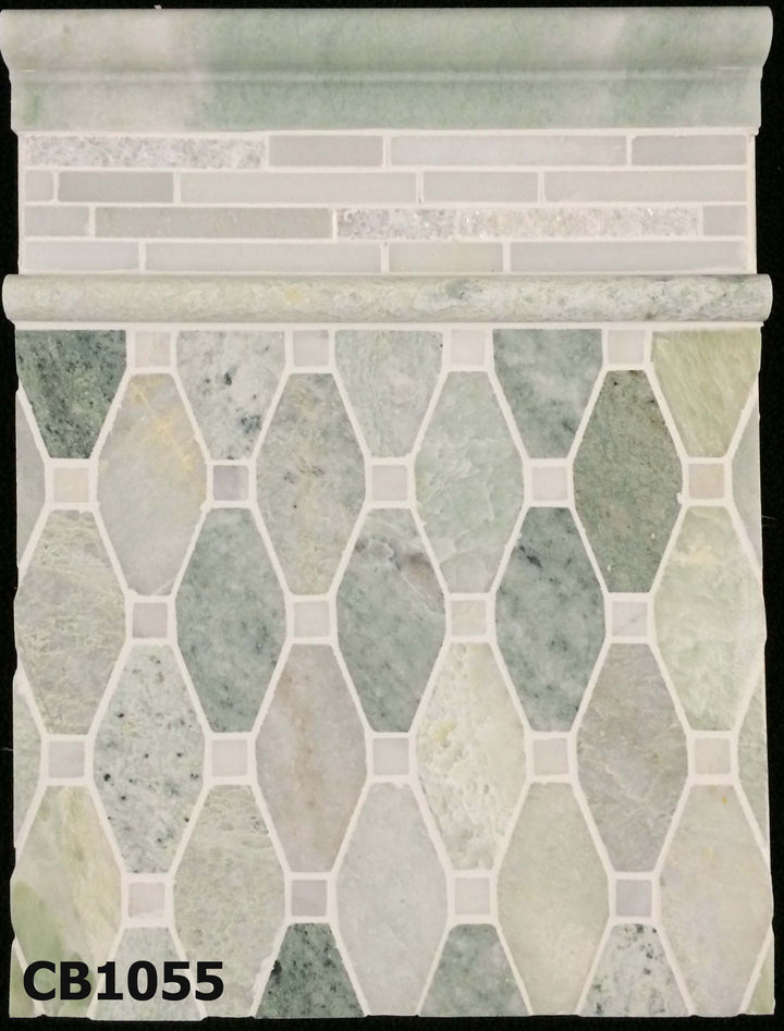 "Concept Board Collection - CB1055 - Ming Green Rhomboid with 5/8"" White Absolute Dot Mosaic Polished with White Absolute Random Strip Mosaic Split Face/Honed and Ming Green Moldings Polished Board - Elon Tile"