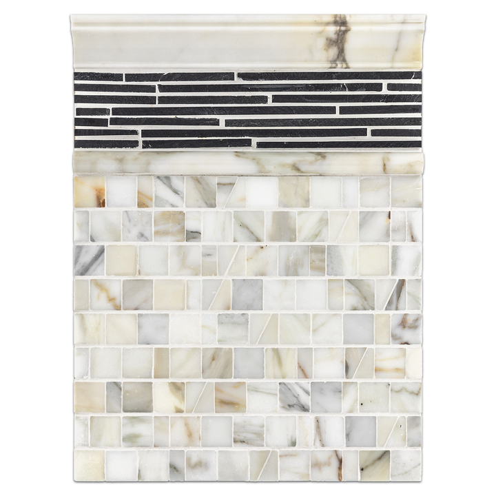 Concept Board Collection - CB1058 - Calacatta Random Broken Joint Mosaic Polished with Midnight Mini Random Strip Mosaic Cleft and Moldings