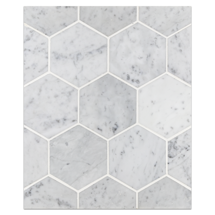 "Mosaic Board Collection - CB1067 - Bianco Carrara 5"" Hexagon Mosaic Polished Board"