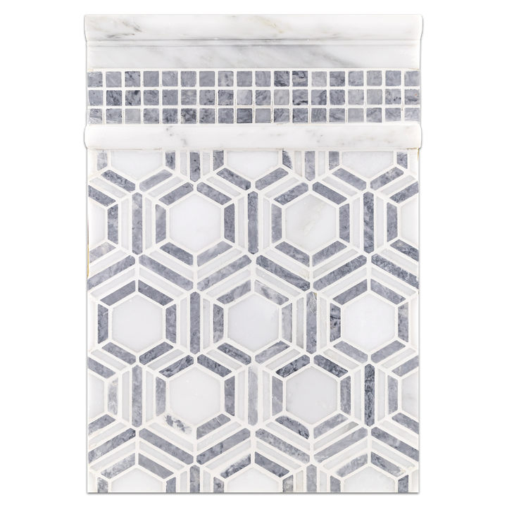 "Concept Board Collection - CB1074 - Pearl White with Pacific Gray Kaleidoscope Mosaic Honed with Pacific Gray 5/8"" x 5/8"" Mosaic Honed and Pearl White Moldings Honed Board"