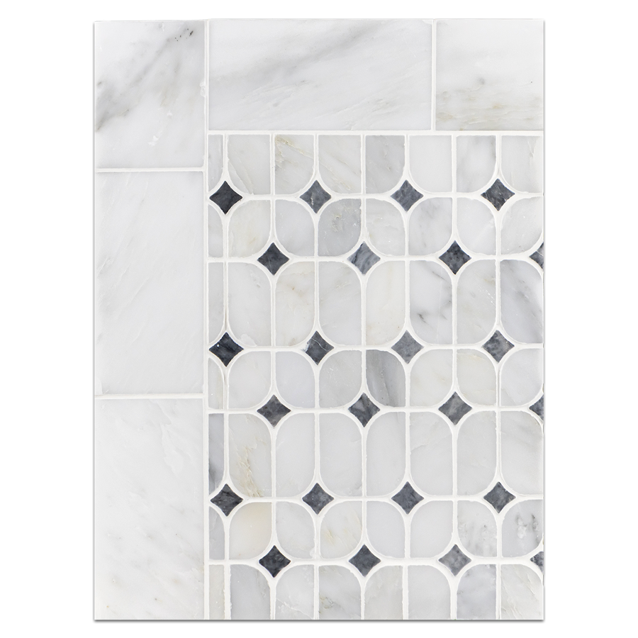 "Concept Board Collection - CB1081 - Pearl White 3"" x 6"" Polished with Pearl White Starlight with Pacific Gray Dot Mosaic Polished Board"