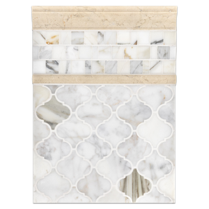 "Concept Board Collection - CB1090 - Calacatta 3"" Lantern with Random Broken Joint Mosaic and Moldings Board"
